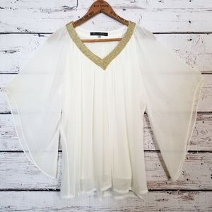 Anthro Rose and Olive Boho Flowy Grecian Blouse